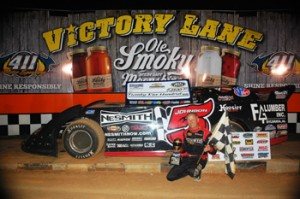 5-Ronnie Johnson celebrates in Ole Smoky Tennessee Moonshine Victory Lane